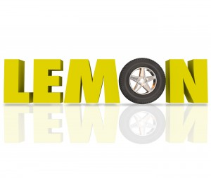 Lemon word in yellow 3d letters with a car wheel or tire to illu